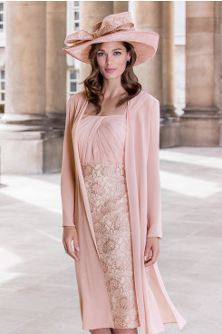 2PC Light pink Lace Mother of the bride chiffon dress with jacket mps-379