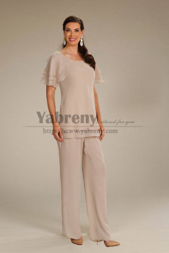 2PC Mother of the bride Chiffon Elastic Waist Panti Suits Women's Outfit mps-479