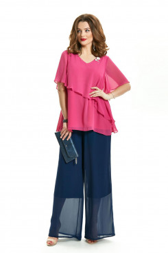 2PC Mother of the Bride Pant Suits Fuchsia Top Navy Trousers mps-424-1