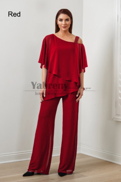 2PC Red Chiffon Women's Pant Suits,Hot Sale Mother Of The Bride Pant Suits,Abbigliamento femminile mps-579-7
