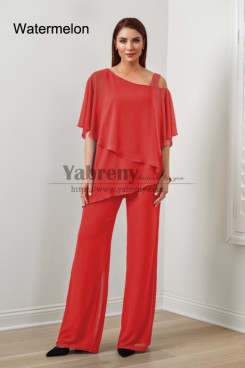 2PC Watermelon Chiffon Women's Pant Suits,Hot Sale Mother Of The Bride Pant Suits, Ropa de mujer mps-579-14