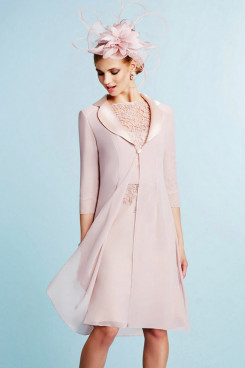 2PC Women's Outfits Light pink Knee-length Mother of The Bride Dress With Jacket mps-389