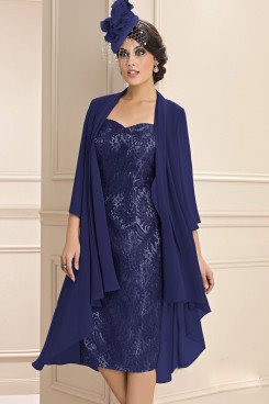 2PC Wonem's Outfit Dark Navy Mother of the bride dress with chiffon jackets mps-386-2