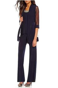 3 Piece Dark Navy Modern Half Sleeves Mother Of the bride Pants Suits mps-289-3