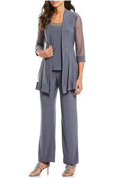 3 Piece Gray Modern Loose Half Sleeves Mother Of the bride Pants Suits mps-289
