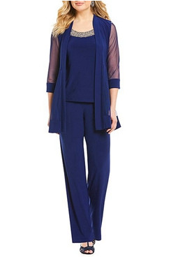 3 Piece Royal Blue Modern Loose Half Sleeves Mother Of the bride Pants Suits mps-289-2