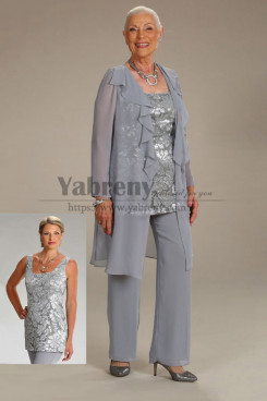 3PC Gray Sequins Mother of the bride Pant Suits With Jacket mps-483
