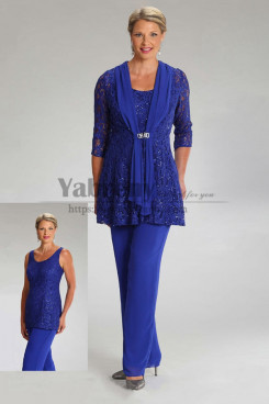 3PC Royal Blue Sequins Mother of the bride Pant Suits With Jacket mps-482