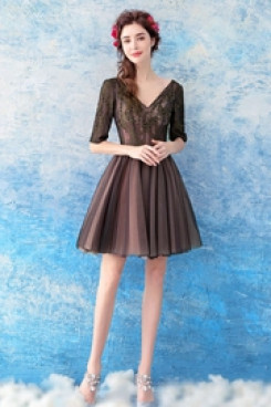 A-line chocolate Homecoming Dresses Above Knee prom dresses TSJY-059