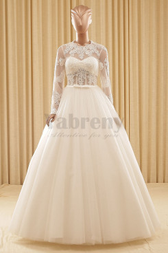 A-Line Floor-Length Lace Long Sleeves Ball Gown Wedding dresses wd-003