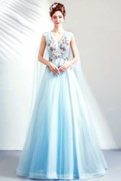 A-line Prom Dresses V-Neck Sky Blue Glamorous Party Dresses TSJY-154