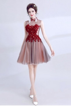 A-line Sexy Homecoming Dresses Above Knee prom dresses TSJY-058
