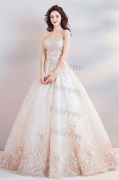 A-line Strapless Gorgeous Floor-Length Quinceanera Dresses TSJY-197