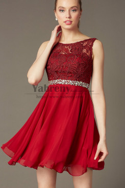 A-link Burgundy Lace Graduation Dress, Charming Short Party Dress with Glass Drill Belt  sd-010-1