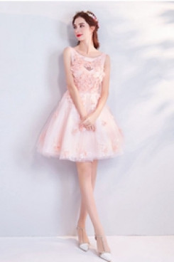Above Knee Homecoming Dresses Pink Party dresses TSJY-066