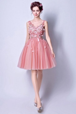Appliques pink Homecoming Dresses A-line prom dresses TSJY-060