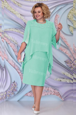 Aqua Chiffon Mother Of The Bride Dress,Plus Size JJade Green Tea-Length Women's Dresses mps-447-1