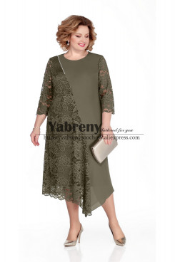 Army Green Plus Size Women Dresses Asymmetry Mother of the bride Dresses mps-506-2