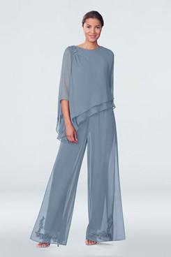 Asymmetry Gray Chiffon Embroidery Loose Mother Of the bride Pants Suits mps-284