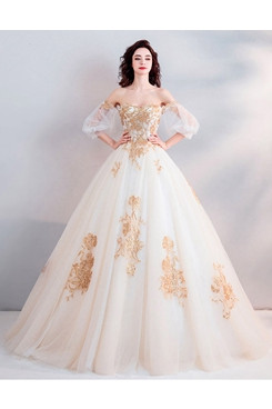 Ball Gown Ivory Half Sleeves wedding dress Chest Appliques Bateau Quinceanera Dresses TSJY-175