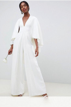 Beach Chiffon Bridal Jumpsuits  dresses With Cape so-101