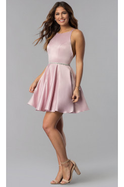 Bean Paste A-line Open-Back Satin Homecoming Dress,Under $100 Short Party Dresses sd-042-1