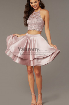 Bean Paste A-line Party Dress,Caged-Back Lace-Top Two-Piece Homecoming Dresses sd-009-1