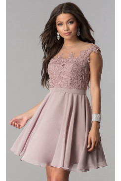 Bean Paste Chiffon Short Prom Dress with Lace Applique, Pearl Pink A-Line Homecoming Dresses sd-046