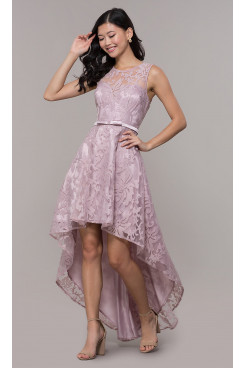 Bean Paste Lace High-Low Prom Dress, Front Short Long Back Homecoming Dresses sd-020-1