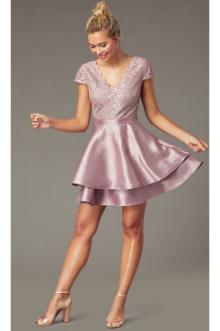 Bean Paste Tight Satin Tiered Homecoming Dress,Mauve Graduation Party Dresses sd-038