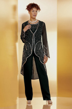 Black Beaded Trousers outfit Mother of the bride Pant Suit mps-422