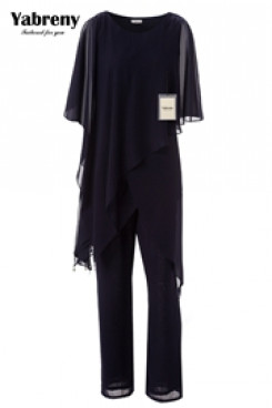 Black Chiffon Loose mother of the bride pant suits for Summer mps-233