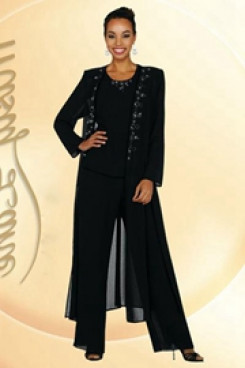 Black Elastic pants Elegant Cheap Mother of the bride Garments mps-226