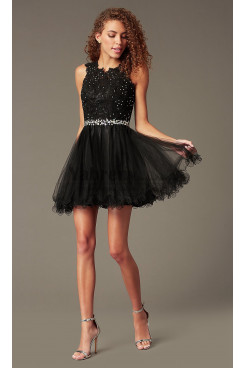 Black Flare Homecoming Party Dress,Graduation Dresses with Glass Drill Belt sd-022-1