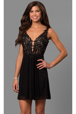 Black Lace-Bodice Homecoming Dresses, Charming Above Knee Graduation Party Dresses sd-036-3