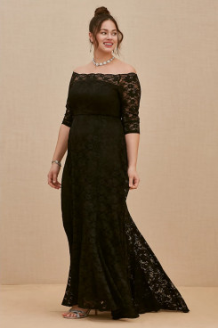 Black Lace Plus Size Women's Dresses, Half Sleeves Mother Of The Bride Dresses mps-404