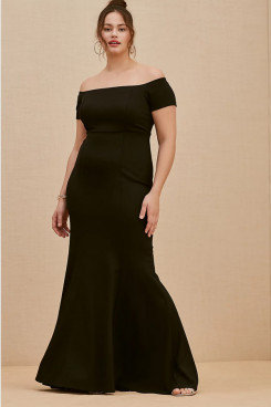 Black Off the Shoulder Women's Dresses,Fashion Plus Size Mother Of The Bride Dresses mps-402