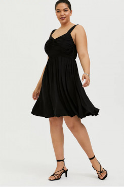 Black Plus Size Women's Dresses, Chiffon Knee-Length Summer Dresses mps-411