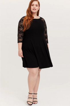 Black Plus Size Women's Dresses, Lace Knee-Length Summer Dresses mps-413