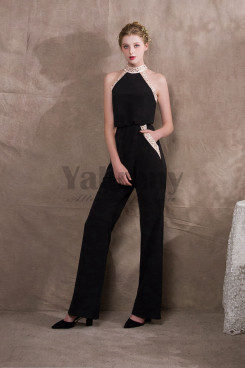 2019 Fashion Black Stretch Halter Womens Prom dresses/Jumpsuits so-030