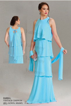 Blue Chiffon Tiered Mother of the bride dresses with shawl mps-324