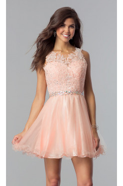 Blushing Pink Flare Homecoming Party Dress,Graduation Dresses with Glass Drill Belt sd-022-2