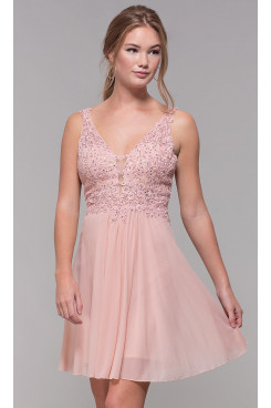Blushing Pink Lace-Bodice Homecoming Dresses, Charming Above Knee Graduation Party Dresses sd-036-2
