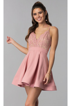 Blushing Pink Lace-Bodice V-Neck Homecoming Dress,A-line Mauve Charming Party Dresses sd-037