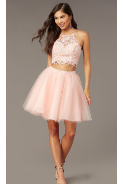 Blushing Pink Lace Two-Piece Short Homecoming Dress,Rose Water Above Knee Graduation Party Dresses sd-033-1