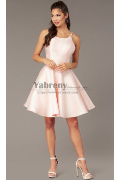 Blushing Pink Under $100 Cross-Tie-Back Homecoming Dress, A-line Short Party Dress sd-013-1