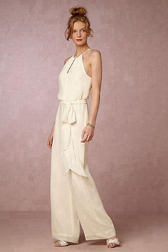 Bridal Halter Chiffon Jumpsuit Wedding dresses for beach wedding so-073