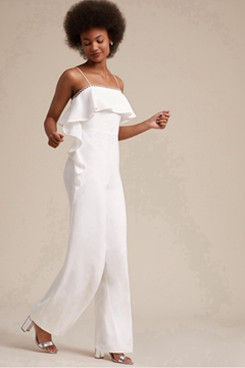 Bridal Jumpsuit Spaghetti Wedding pants dresses for Beach so-075