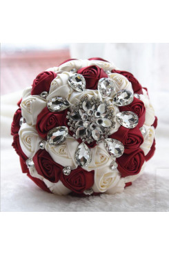 Burgundy and Ivory Crystal Informal Artificial Flowers Rose for bride holding flowers