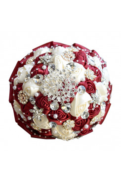 Burgundy and ivory Artificial Flowers Rose Bouquet for Home Garden Wedding Party holding flowers